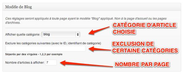 Capture: Réglage du modèle Blog pour le framework de thème Genesis